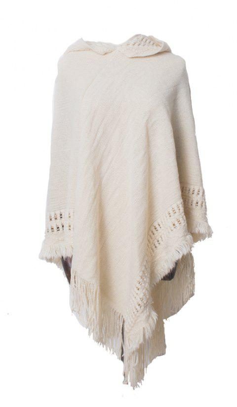 Lady's Soft and Solid Cap Knitted Cloak - WARM WHITE