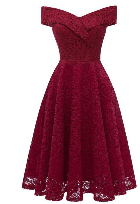 Deep V Collar Lace Sexy Dress - RED WINE XL