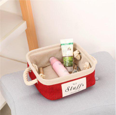 Storage Box Brief Style Linen Socks Toys Makeups Desk Organizer - RED