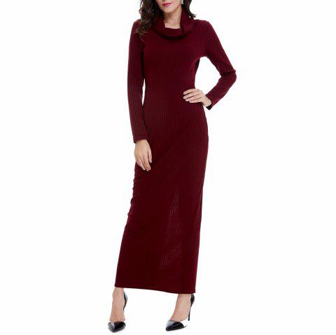 Women's Solid Colod Long Sleeve Turtleneck Knitwear Ankle Length Casual Dress - RED WINE M