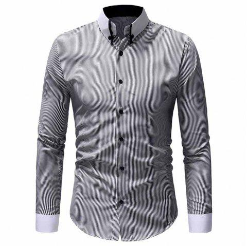 Men's Classic Striped Collar Collar Casual Slim Long Sleeve Shirt - BLACK 2XL