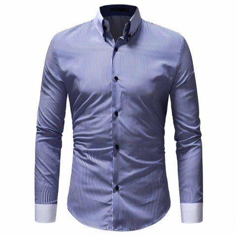 Men's Classic Striped Collar Collar Casual Slim Long Sleeve Shirt - BLUE L
