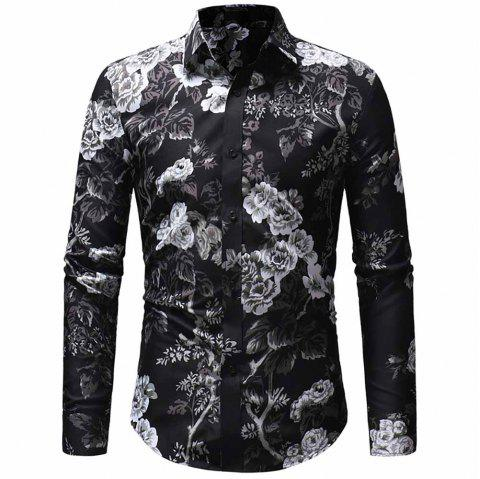 Men'S Fashion Personality 3D Color Printing Casual Slim Long-Sleeved Shirt - BLACK 2XL