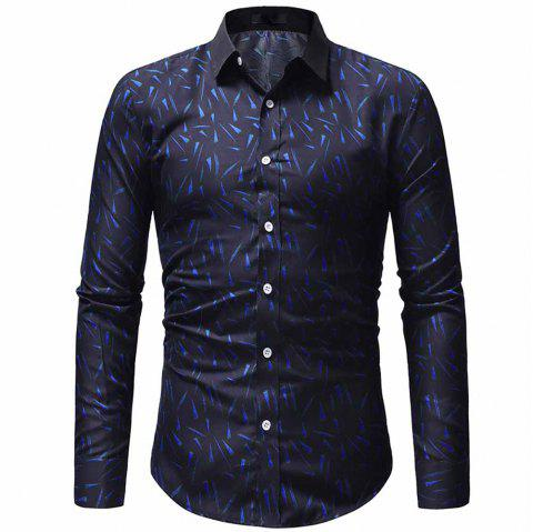 Men's High Quality Design Fashion Printed Casual Slim Long Sleeve Printed Shirt - BLUE L