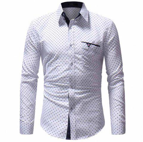 Men's Classic Pentagram Print Casual Slim Long Sleeve Shirt - WHITE M
