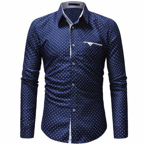 Men's Classic Pentagram Print Casual Slim Long Sleeve Shirt - CADETBLUE 2XL