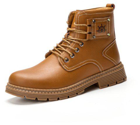 Men'S Leather Warm Wear-Resistant Tooling Boots - LIGHT BROWN EU 45