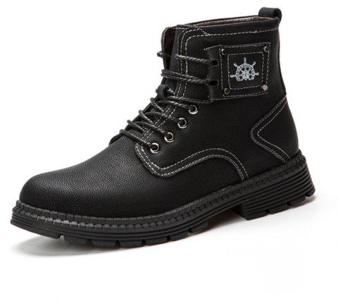Men'S Leather Warm Wear-Resistant Tooling Boots - BLACK EU 40