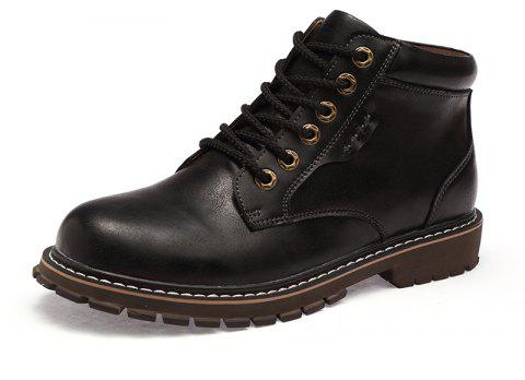 Men'S High-Top Leather Wear-Resistant Anti-Skid Workwear Boots - BLACK EU 42