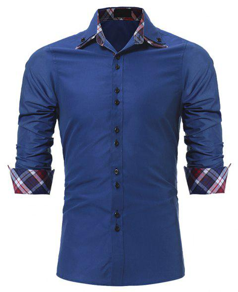 Men's Fashion Color Double-Collar Casual Slim Long-Sleeved Shirt - BLUE 3XL