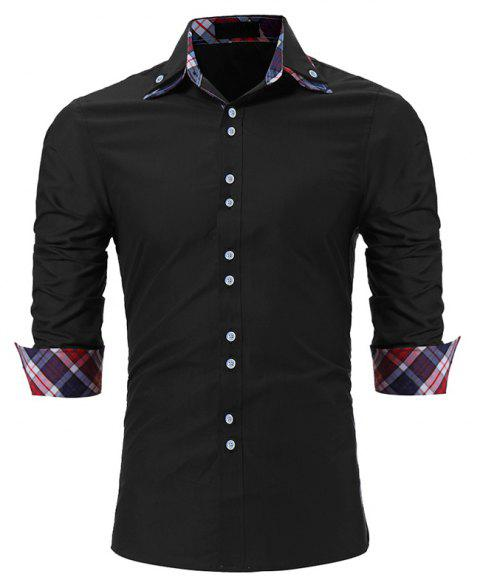 Men's Fashion Color Double-Collar Casual Slim Long-Sleeved Shirt - BLACK XL