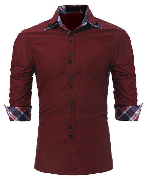 Men's Fashion Color Double-Collar Casual Slim Long-Sleeved Shirt - RED WINE XL