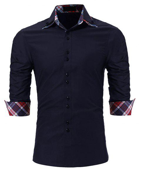 Men's Fashion Color Double-Collar Casual Slim Long-Sleeved Shirt - CADETBLUE L