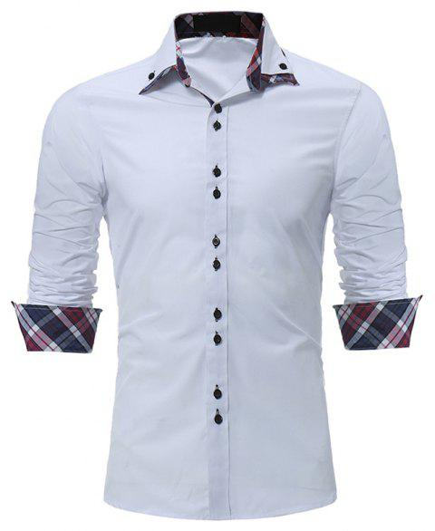 Men's Fashion Color Double-Collar Casual Slim Long-Sleeved Shirt - WHITE M