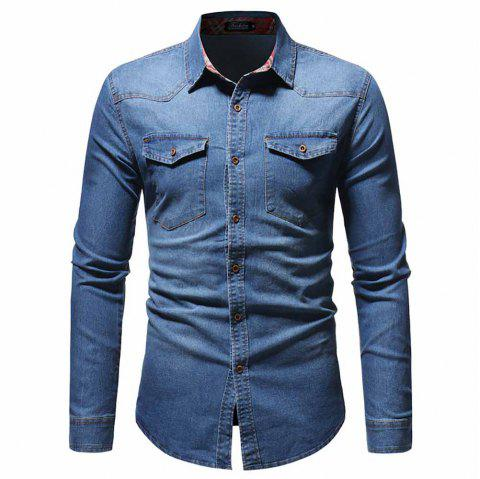 Men's Fashion Plaid Top Casual Slim Long Sleeve Shirt - BLUE M