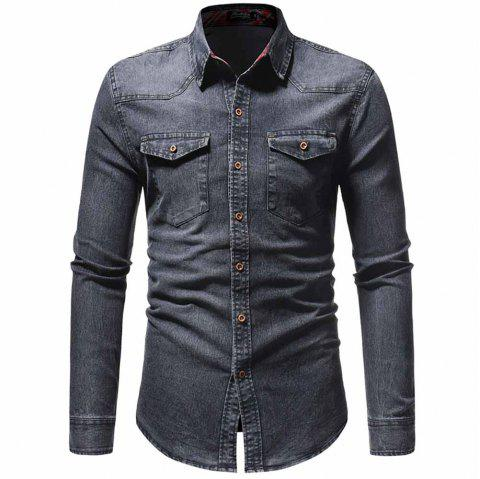 Men's Fashion Plaid Top Casual Slim Long Sleeve Shirt - GRAY XL