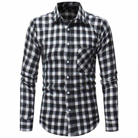 Men's Fashion Thick Flannel Plaid Top Casual Slim Long Sleeve Plaid Shirt - BLACK L