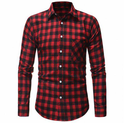 Men's Fashion Thick Flannel Plaid Top Casual Slim Long Sleeve Plaid Shirt - RED L