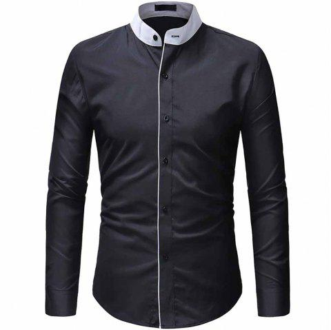 Men's Fashion Contrast Color Stand Collar Access Control Layering Casual shirt - BLACK 3XL