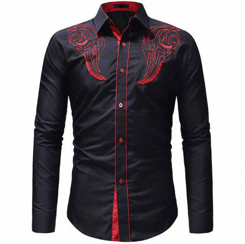 Men's Classic Embroidered Top Casual Slim Long Sleeve Shirt - BLACK XL