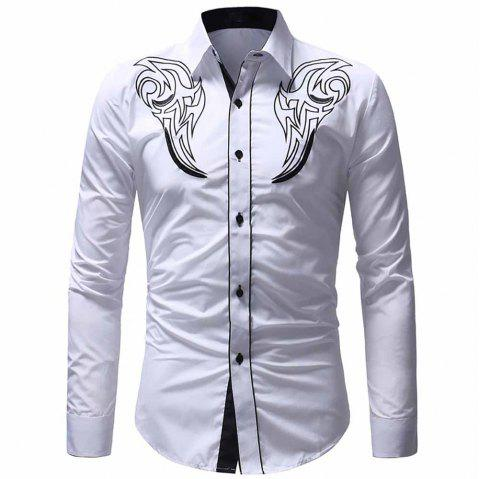 Men's Classic Embroidered Top Casual Slim Long Sleeve Shirt - WHITE 3XL
