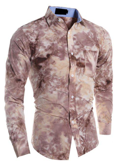 Men's Fashion Casual Tie Dyed Long-Sleeved Shirt - LIGHT BROWN 2XL