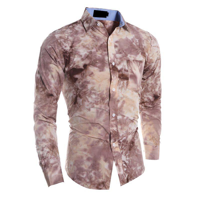 Men's Fashion Casual Tie Dyed Long-Sleeved Shirt - LIGHT BROWN M