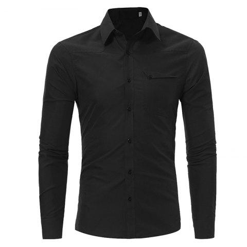 Men's Fashion Casual Slim Long-sleeved Shirt Large Size - BLACK 3XL