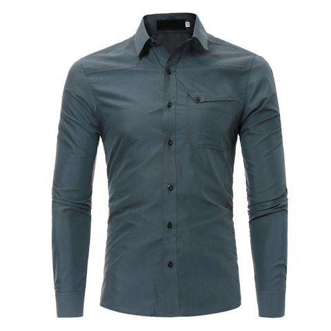 Men's Fashion Casual Slim Long-sleeved Shirt Large Size - DARK GRAY L
