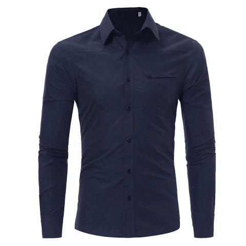 Men's Fashion Casual Slim Long-sleeved Shirt Large Size - CADETBLUE XL
