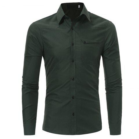 Men's Fashion Casual Slim Long-sleeved Shirt Large Size - ARMY GREEN 3XL