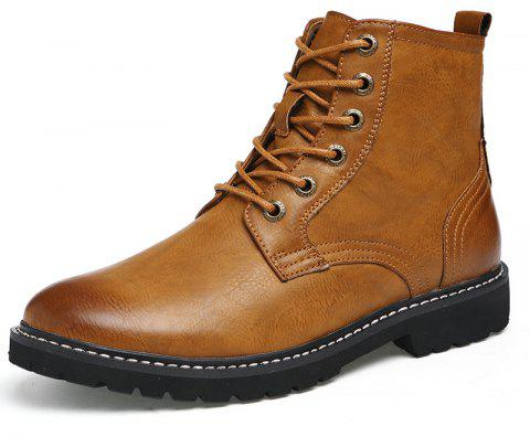 Men'S Leather Wear-Resistant Anti-Skid Work Locomotive Boots - BROWN EU 38