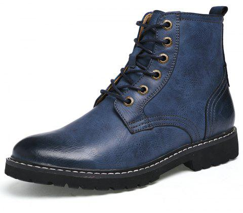 Men'S Leather Wear-Resistant Anti-Skid Work Locomotive Boots - BLUE EU 38