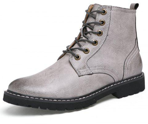 Men'S Leather Wear-Resistant Anti-Skid Work Locomotive Boots - GRAY EU 46