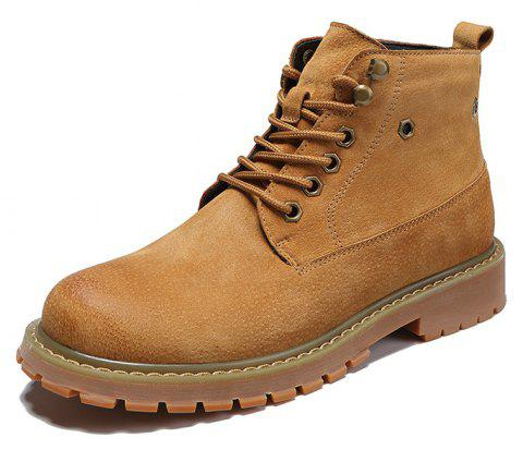 Men'S High-Top Leather Wear-Resistant Non-Slip Boots Casual Shoes - LIGHT BROWN EU 38