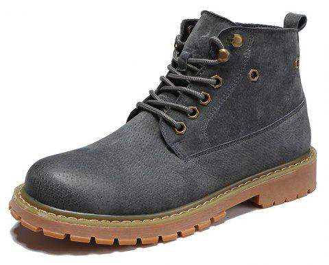 Men'S High-Top Leather Wear-Resistant Non-Slip Boots Casual Shoes - GRAY EU 45