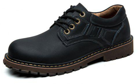 Men'S Low Cut Leather Outdoor Non-Slip Wear-Resistant Work Boots - BLACK EU 39