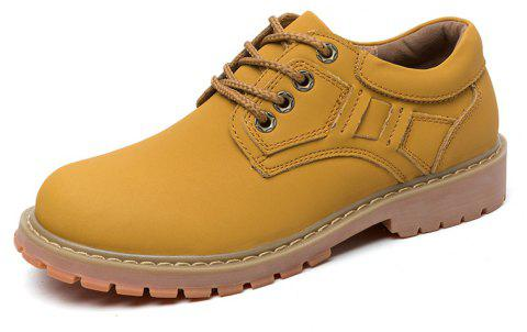 Men'S Low Cut Leather Outdoor Non-Slip Wear-Resistant Work Boots - YELLOW EU 39