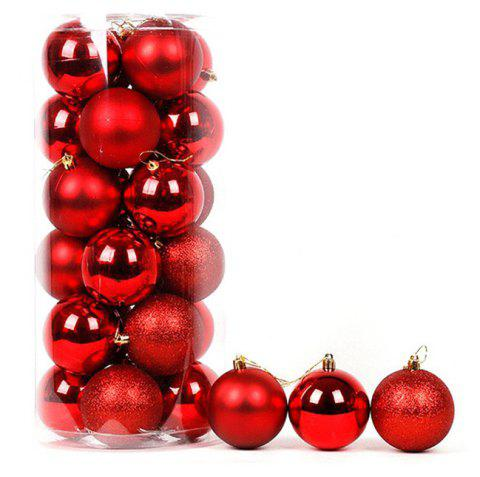 Christmas Tree Decorations Balls Polished Hanging Ball Xmas Ornament - RED 20*9CM