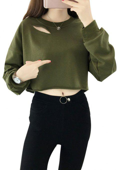 Women's Long Sleeve Halon Short Slim Sweatshirt - ARMY GREEN M