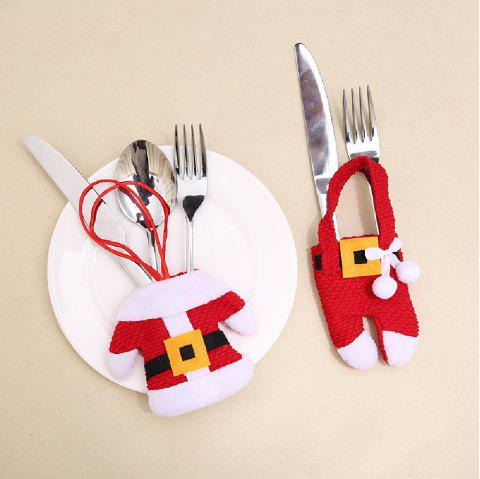 YEDUO New Year Merry Christmas Knife Fork Cutlery Set Skirt Pants - RED