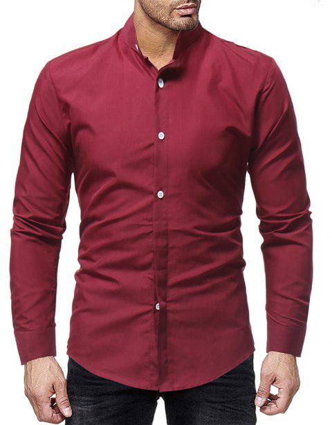 Men's Stand Collar Casual Solid Color Simple Slim Long-Sleeved Shirt - RED WINE 3XL