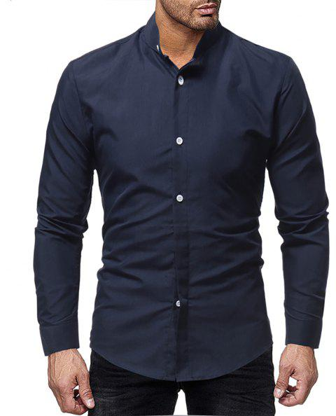 Men's Stand Collar Casual Solid Color Simple Slim Long-Sleeved Shirt - CADETBLUE XL