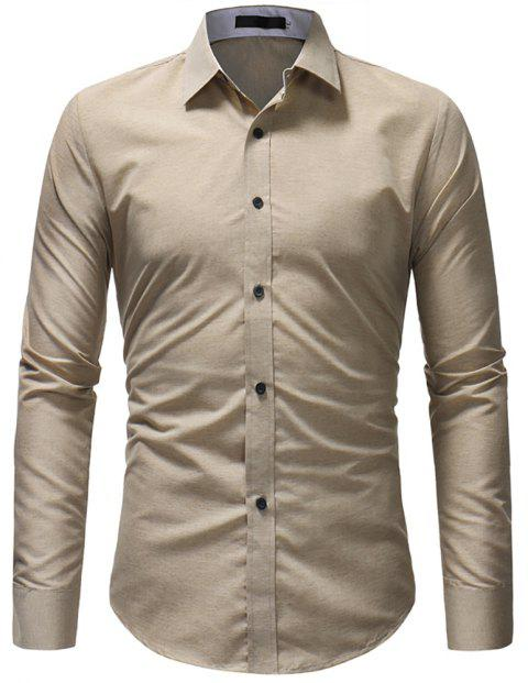 Fashionable Cotton Fabric Casual Slim Long-sleeved Shirt - LIGHT KHAKI XL