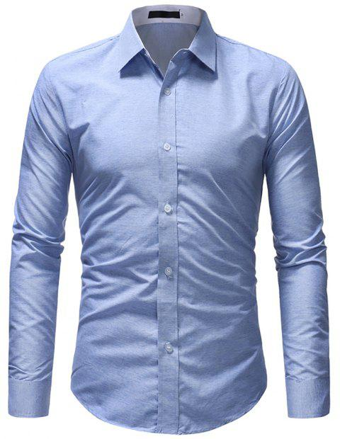 Fashionable Cotton Fabric Casual Slim Long-sleeved Shirt - SKY BLUE L
