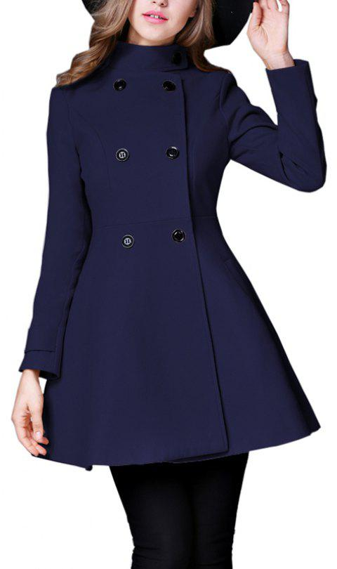 Women's Coat Stand Collar Double Breasted Slim Fit Flared Windproof Outerwear - CADETBLUE L