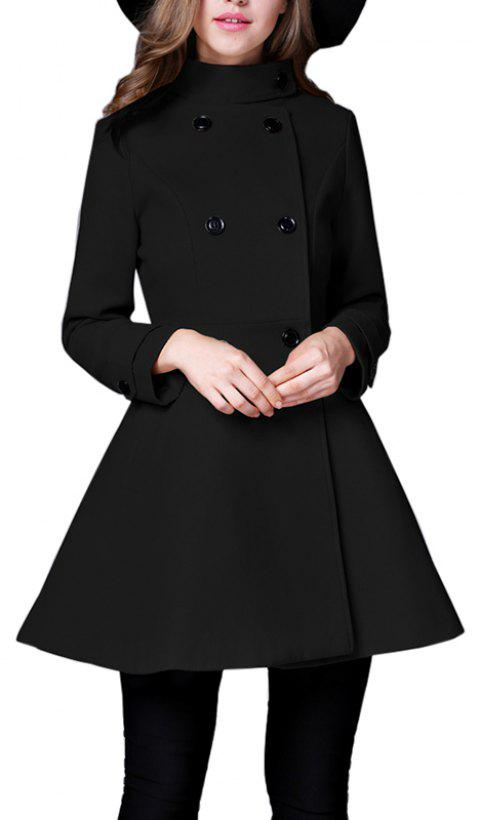 Women's Coat Stand Collar Double Breasted Slim Fit Flared Windproof Outerwear - BLACK L
