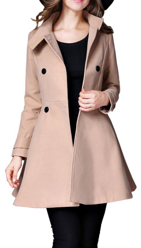 Women's Coat Stand Collar Double Breasted Slim Fit Flared Windproof Outerwear - CAMEL BROWN L