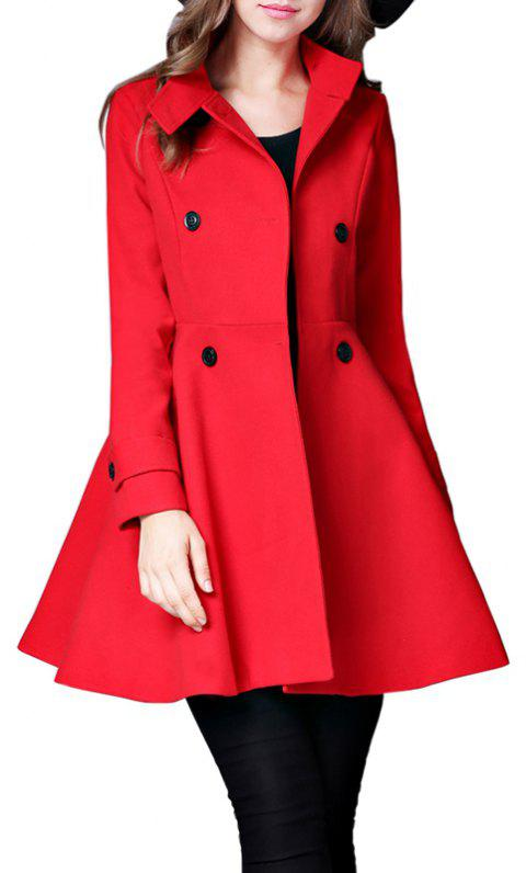 Women's Coat Stand Collar Double Breasted Slim Fit Flared Windproof Outerwear - RED XL