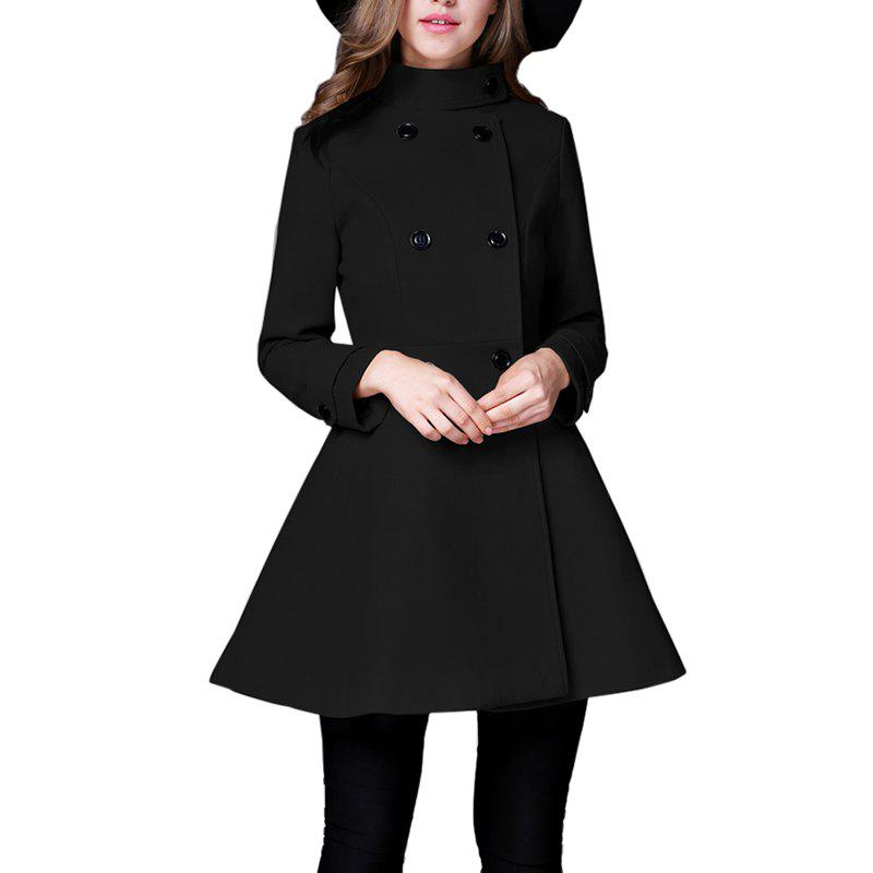 Women's Coat Stand Collar Double Breasted Slim Fit Flared Windproof Outerwear
